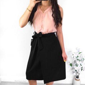 Black tie waist midi skirt